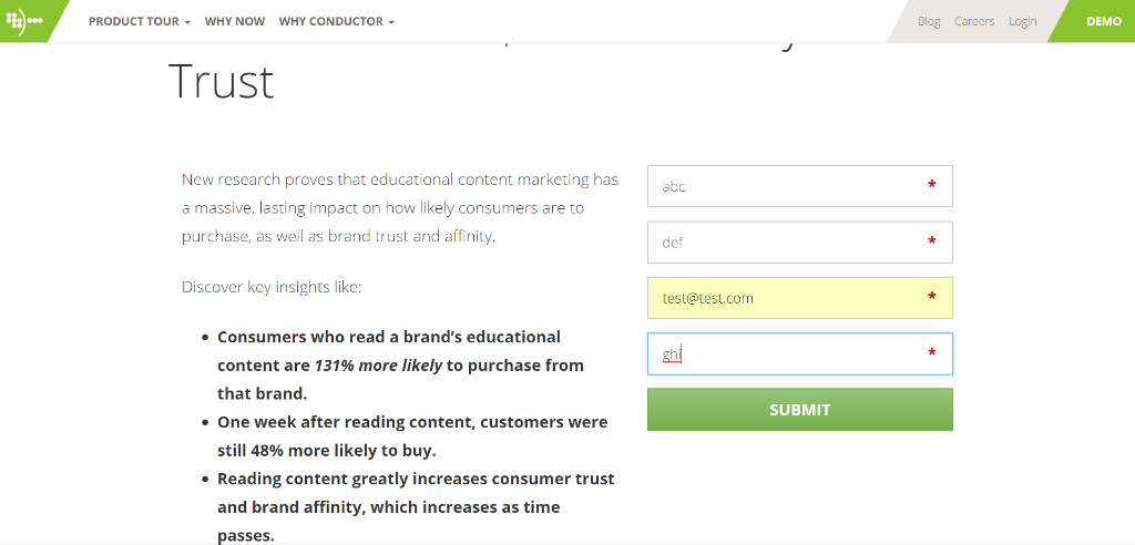 conductor leadgeneration landingpage