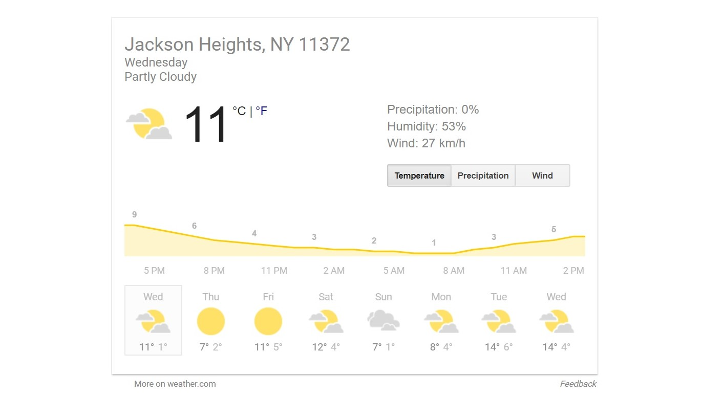 google weather snippet