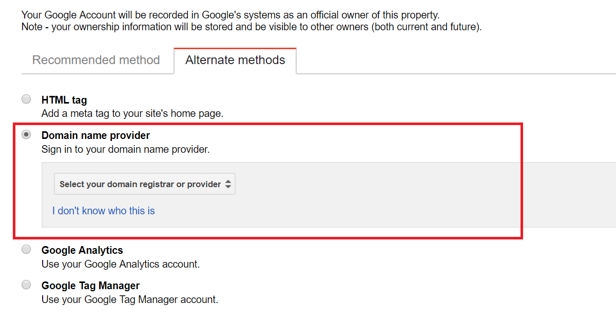 google search console verification method