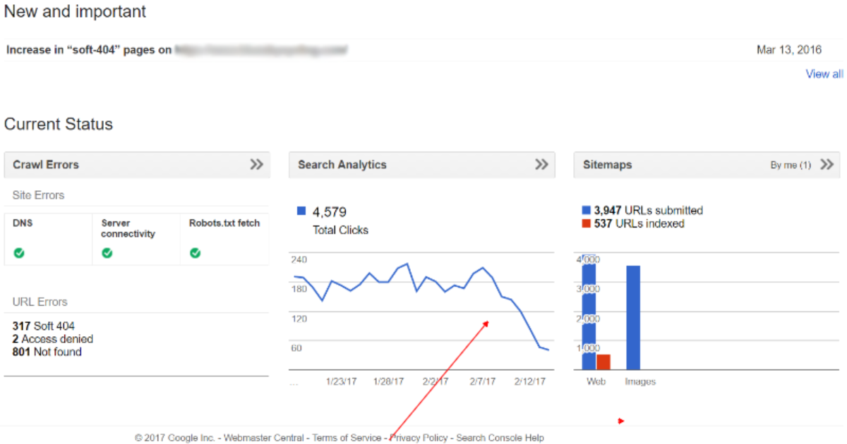 google search console errors