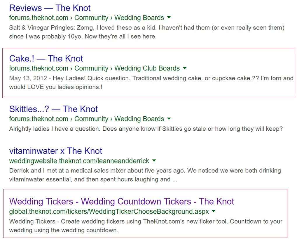 pages from theknot.com subdomains
