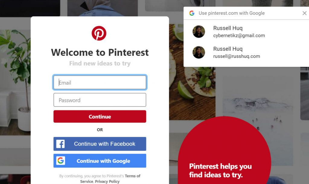 pinterest google credential API